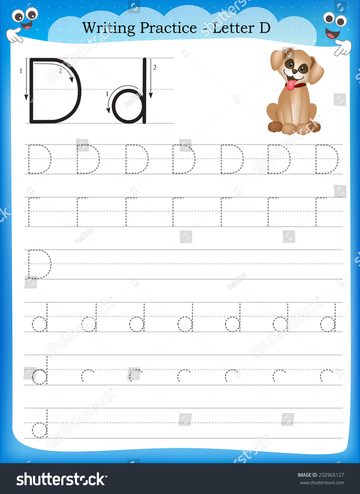 Writing Practice Letter D Printable Worksheet Stock Vector