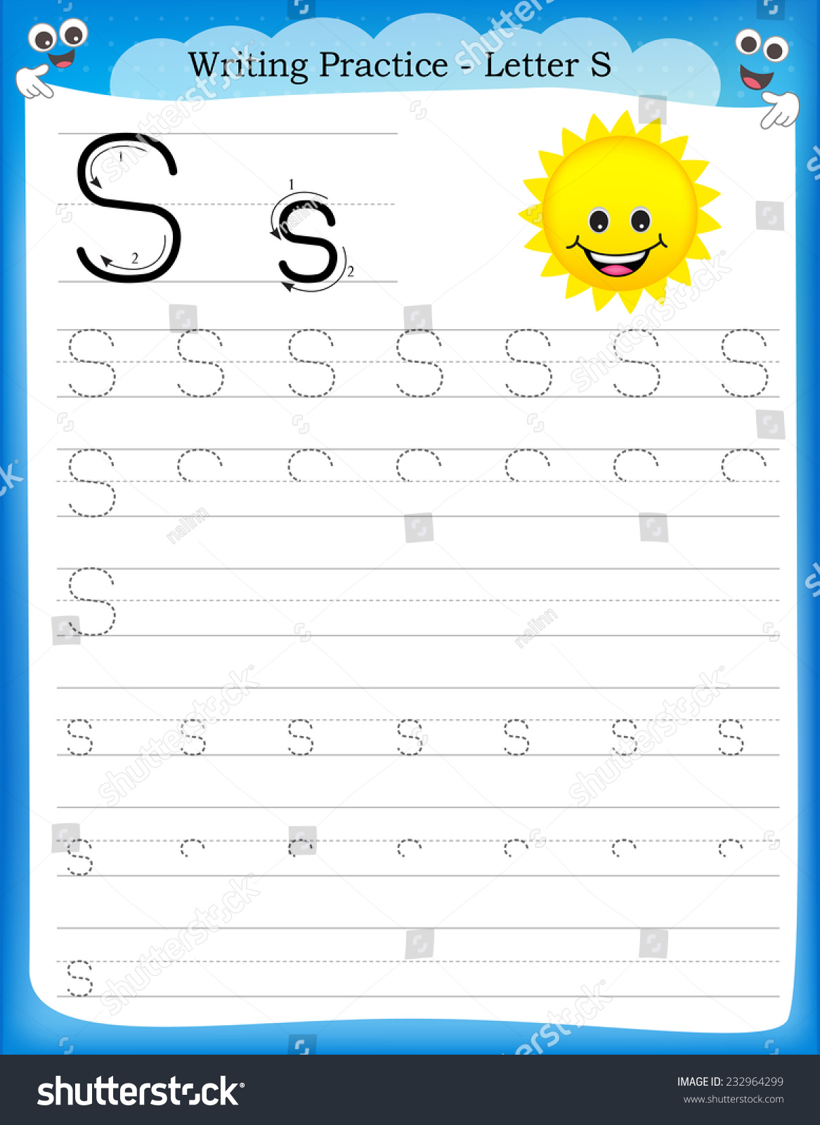 Writing Practice Letter S Printable Worksheet Stock Vector
