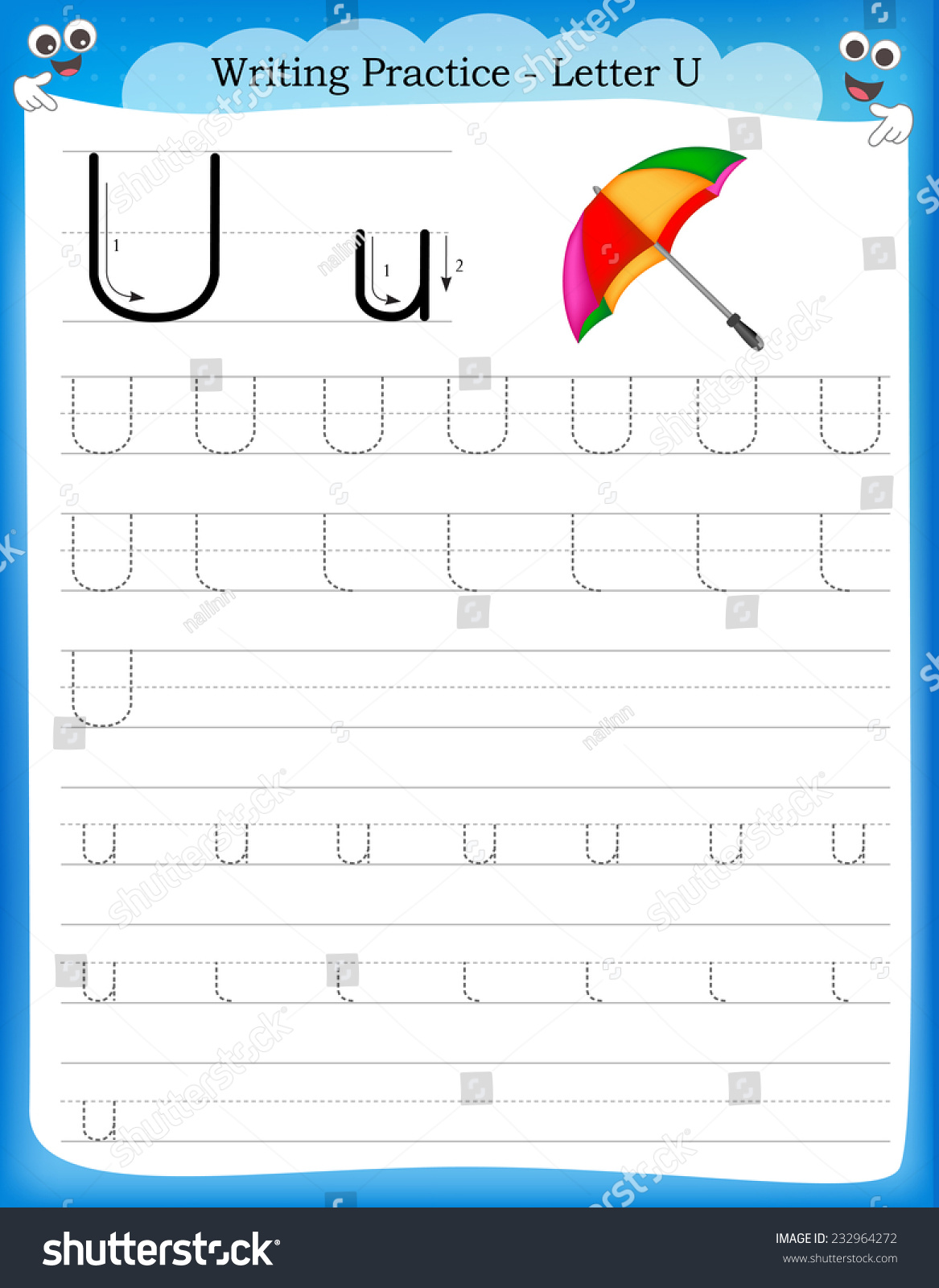 Writing Practice Letter U Printable Worksheet With Clip