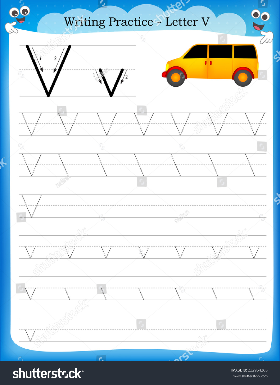Writing Practice Letter V Printable Worksheet With Clip