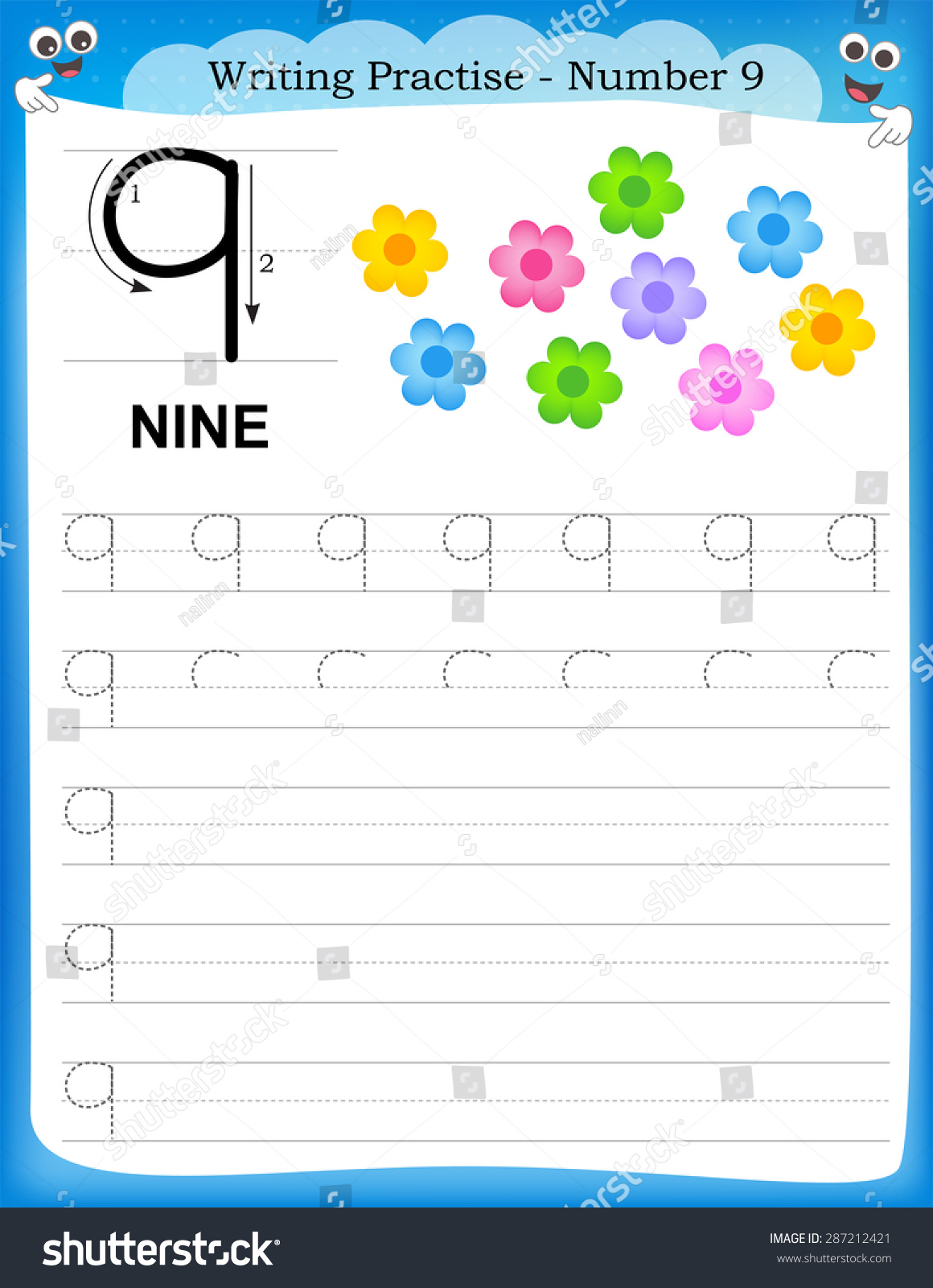 Writing Practice Number Nine Printable Worksheet Stock Vector