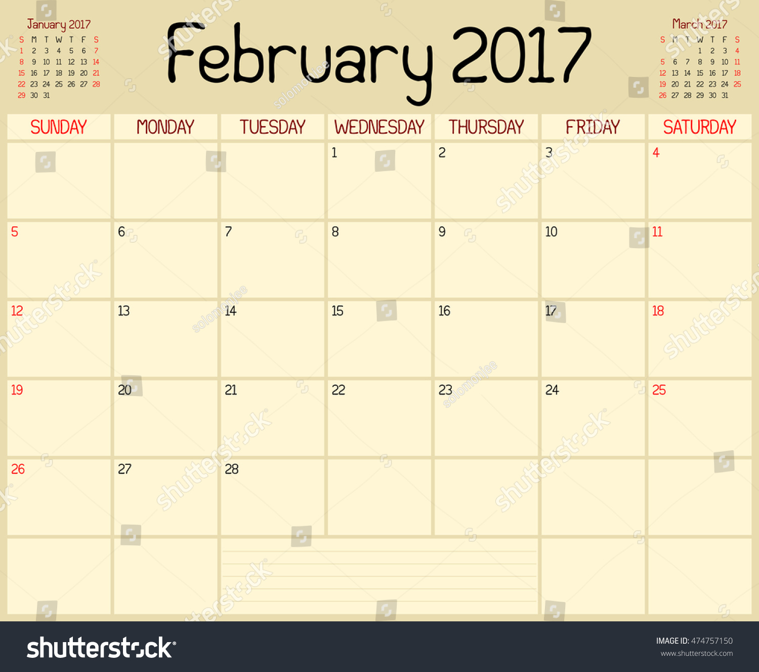 Year February Planner Monthly Planner Stock Vector