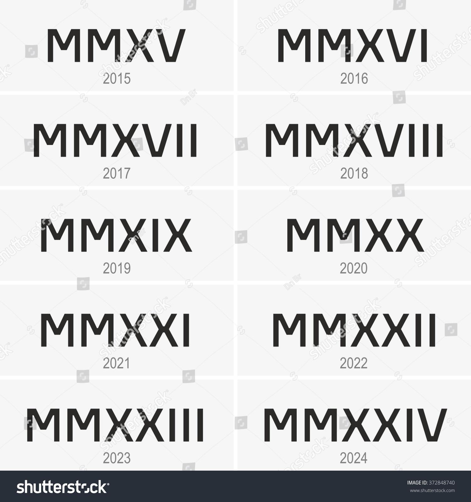 Years Written Roman Numerals Stock Vector
