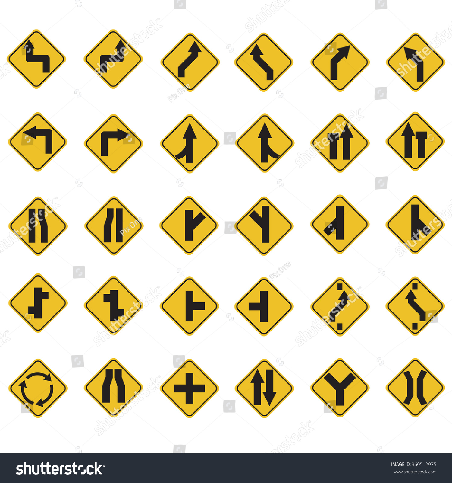 Yellow Road Signs Traffic Signs Vector Set On White Background A Set Of 30 Item