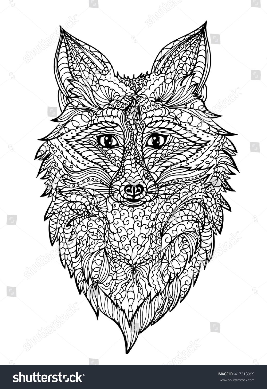 Zentangle Fox Coloring Pagetattoo T Shirt Stock Vector