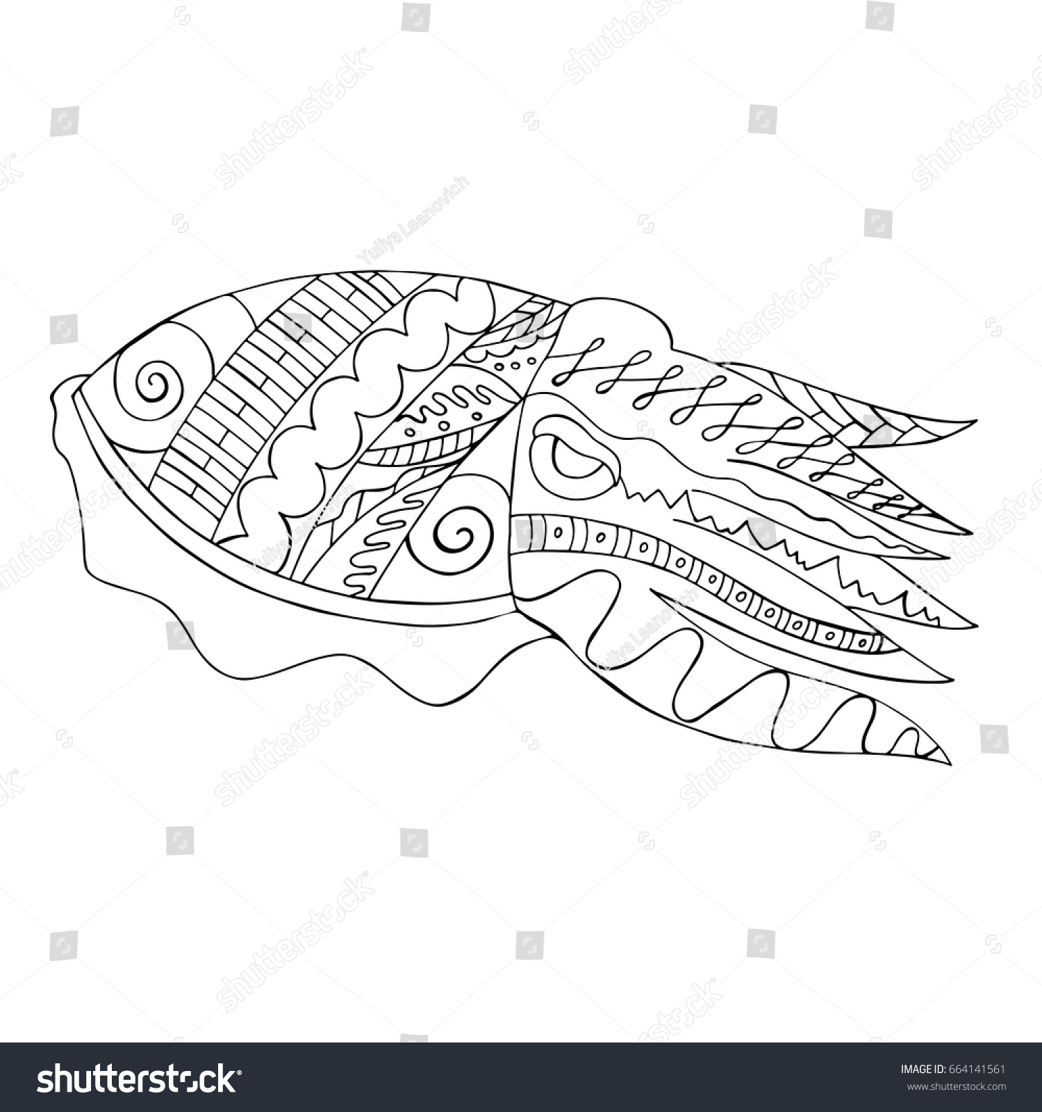 Zentangle Stylized Cuttlefish Isolated On White Stock Vector