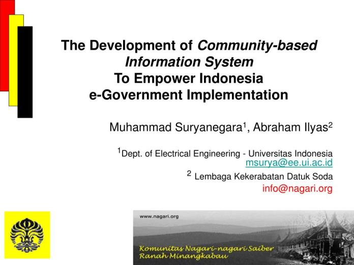 Ppt The Development Of Community Based Information System To Empower Indonesia E Government Implementation Powerpoint Presentation Id 101096