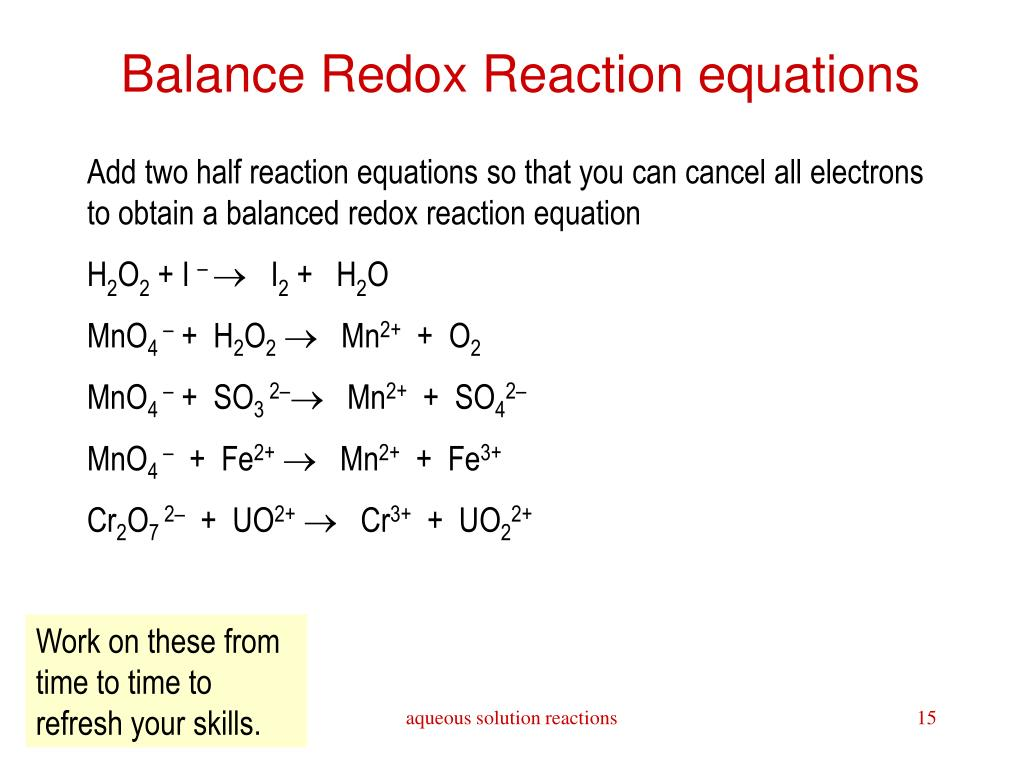 Redox Worksheet Redox Reactions