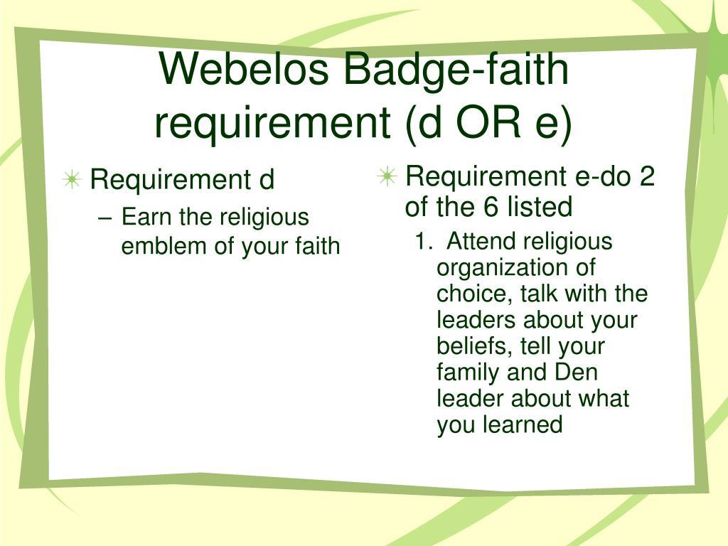 Webelos Arrow Of Light Requirements Worksheet