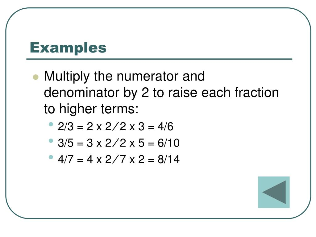 Raising Fractions To Higher Terms Worksheet