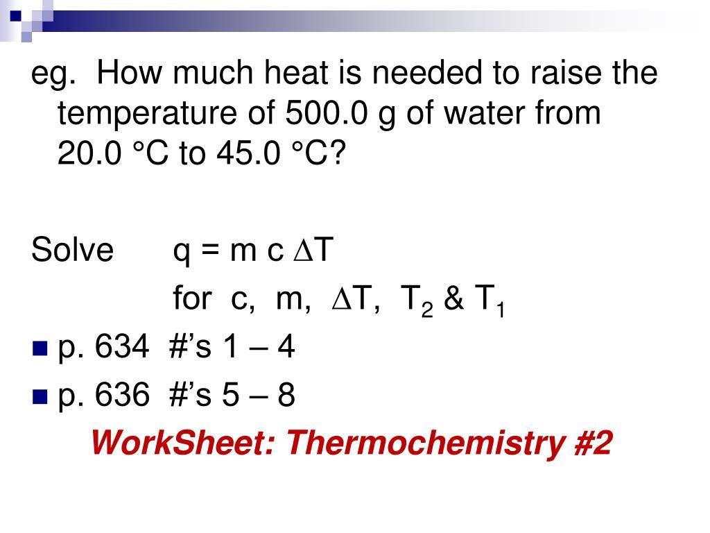Thermochemistry Worksheet
