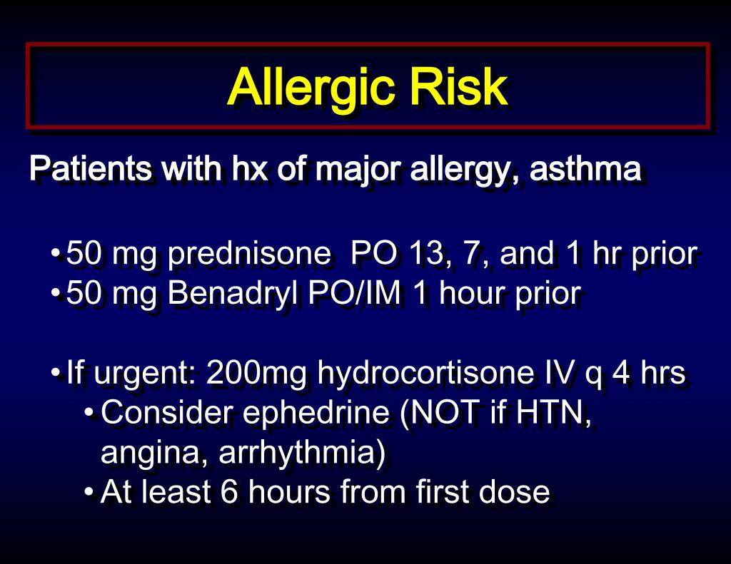Image Result For Iv Contrast Allergy Premedication