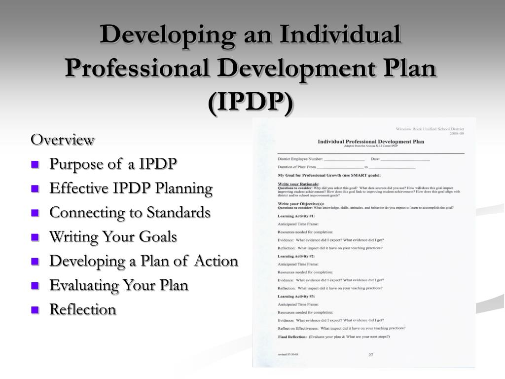 Ppt Developing An Individual Professional Development Plan
