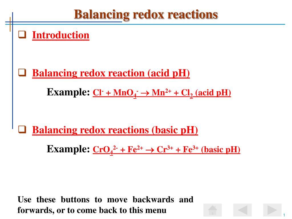 Balancing Redox Reactions Practice