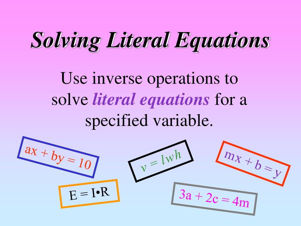 How To Solve Literal Equations With Parentheses