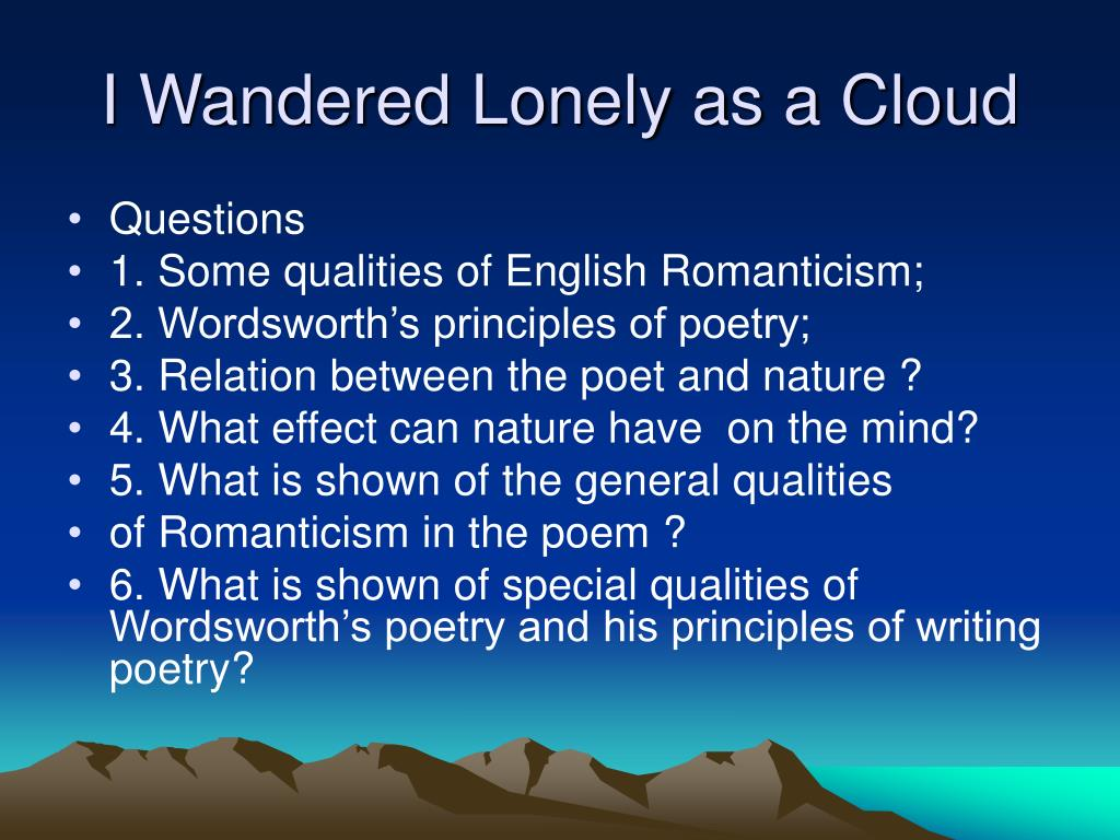 Yzing A Poem Worksheet I Wandered Lonely As A Cloud Introduction To Romanticism