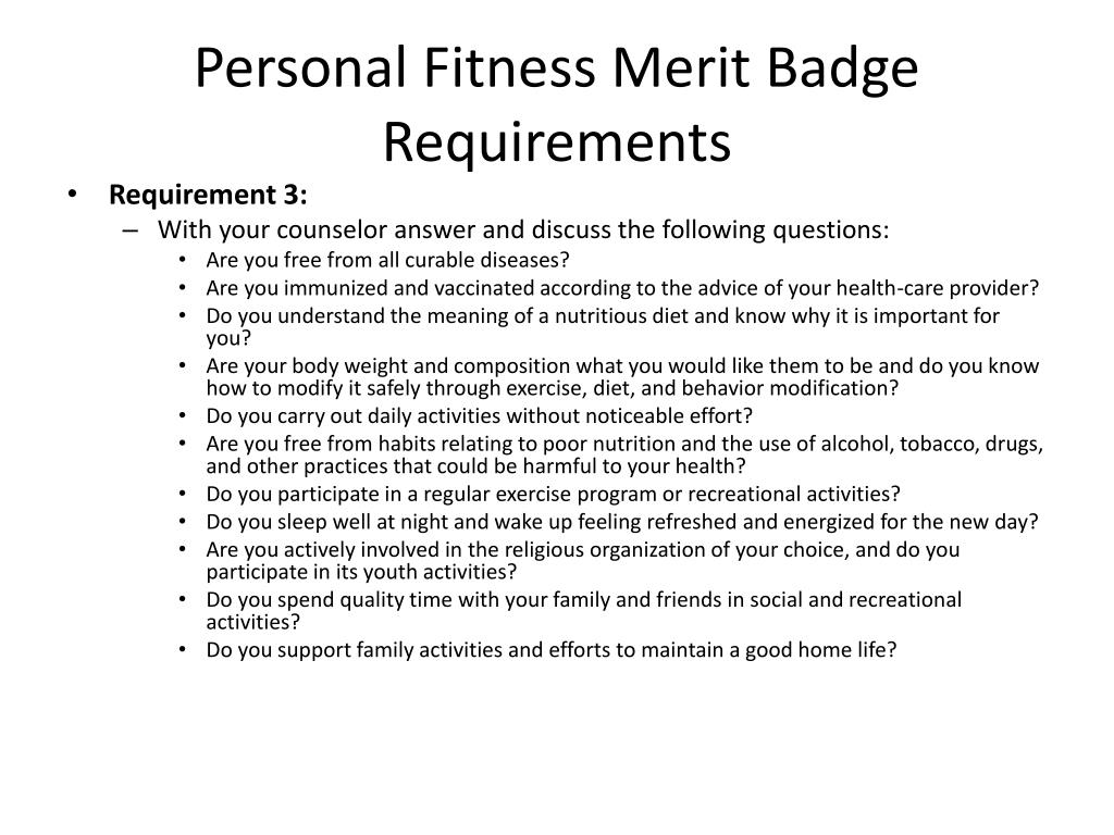 Bsa Personal Fitness Merit Badge Powerpoint