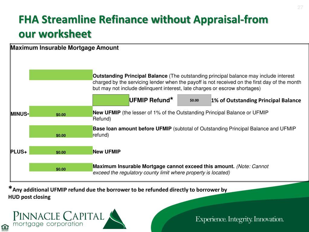 Fha Streamline Refinance Worksheet
