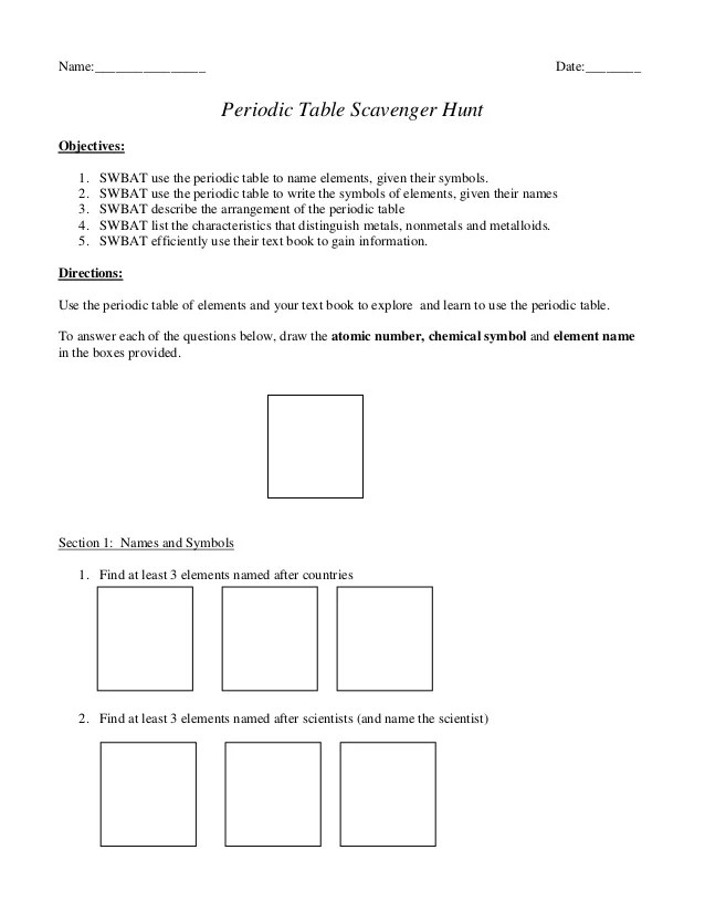 Periodic Table Scavenger Hunt Worksheet Answers Www