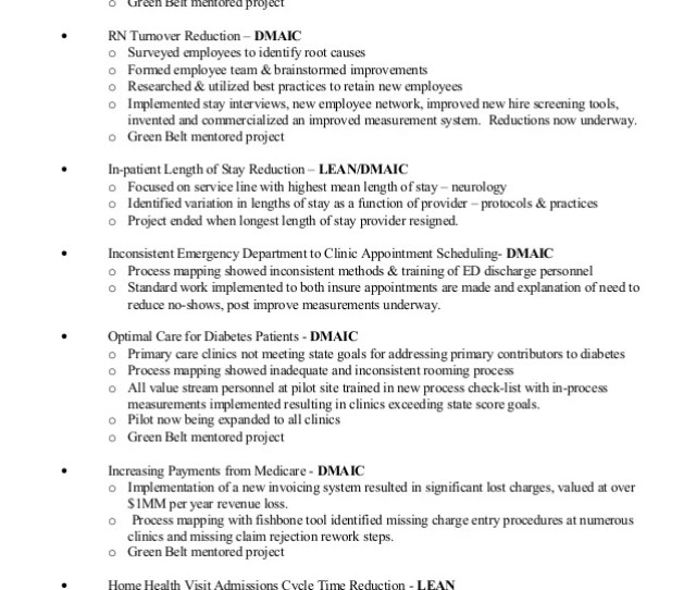 Barry Dallum Lean 6 Sigma Accomplishments Projects Page   E2 80 A2 Hospital Noise At