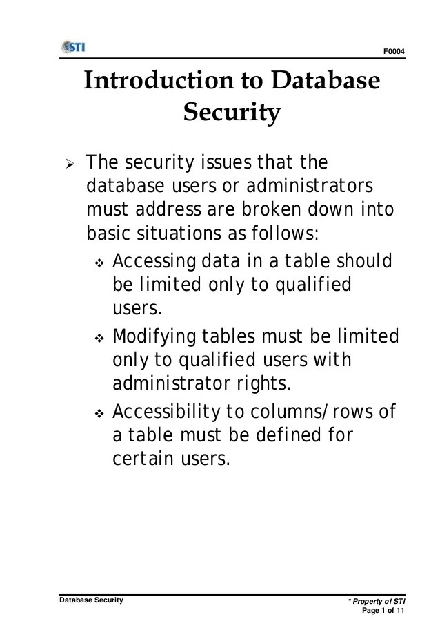Introduction Database Security Issues