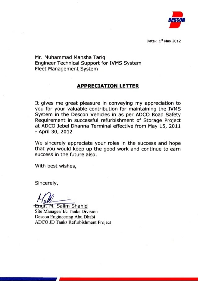 Descon Appericiation Letter
