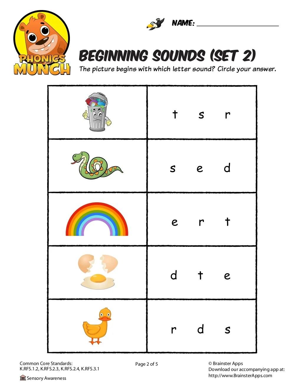 Beginning Sounds Phonics Worksheet