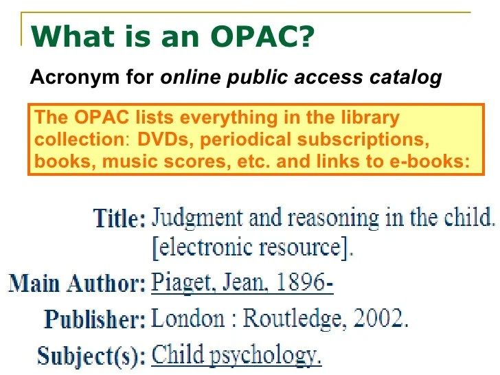 1 What Is An Opac (And What Can It Do)