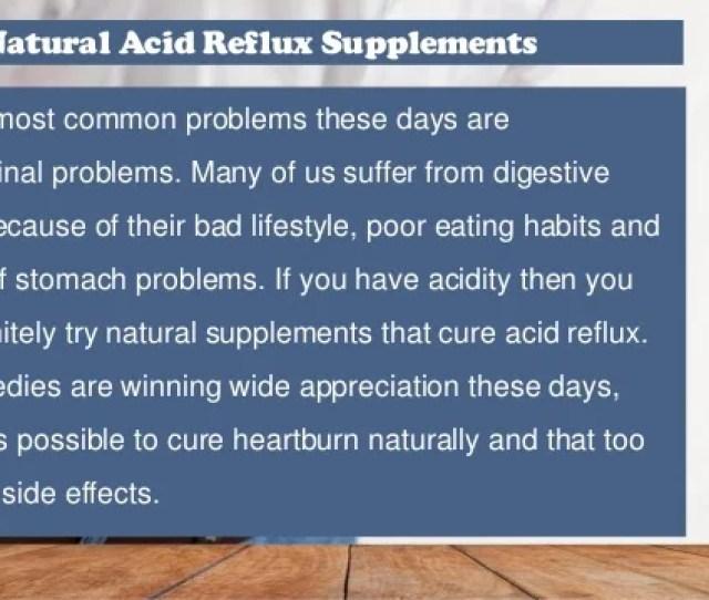 Natural Acid Reflux Supplements