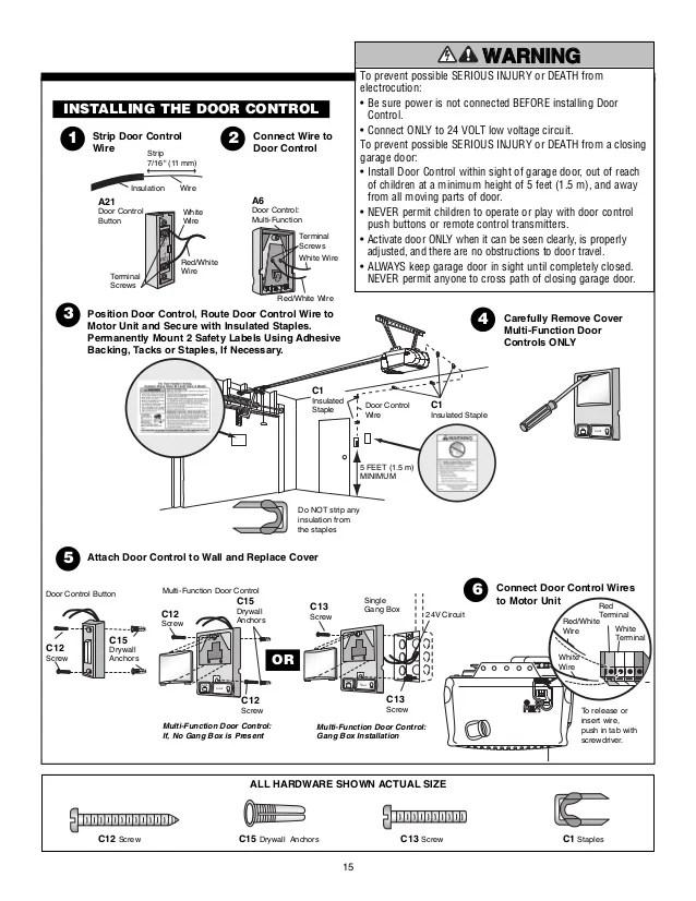 chamberlain garage door opener manual