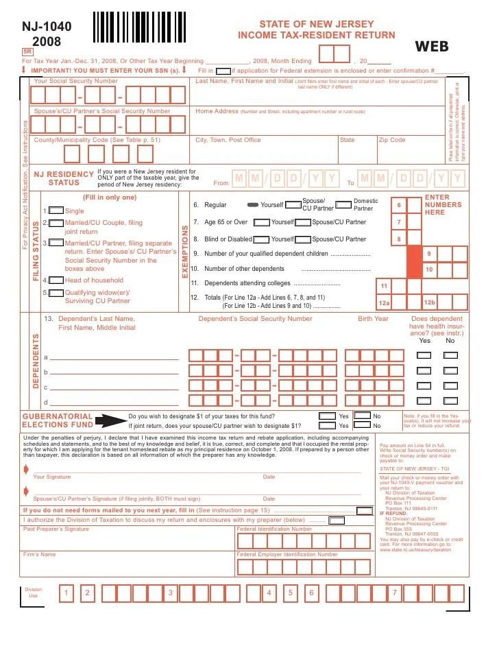 NJ Resident Income Tax Return