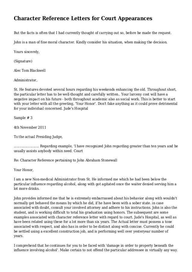 Personal Reference Letter Court Hearing