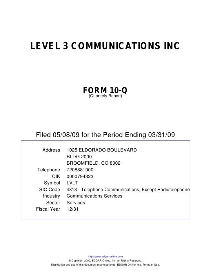 Q1 2009 Earning Report of Level 3 Communications
