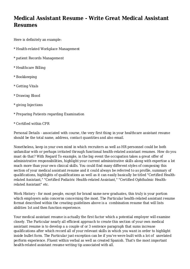 We asked experts to weigh in. Examples Of Objectives On Resumes For Medical Assistants How To Write A Medical Assistant Resume Objective With Examples