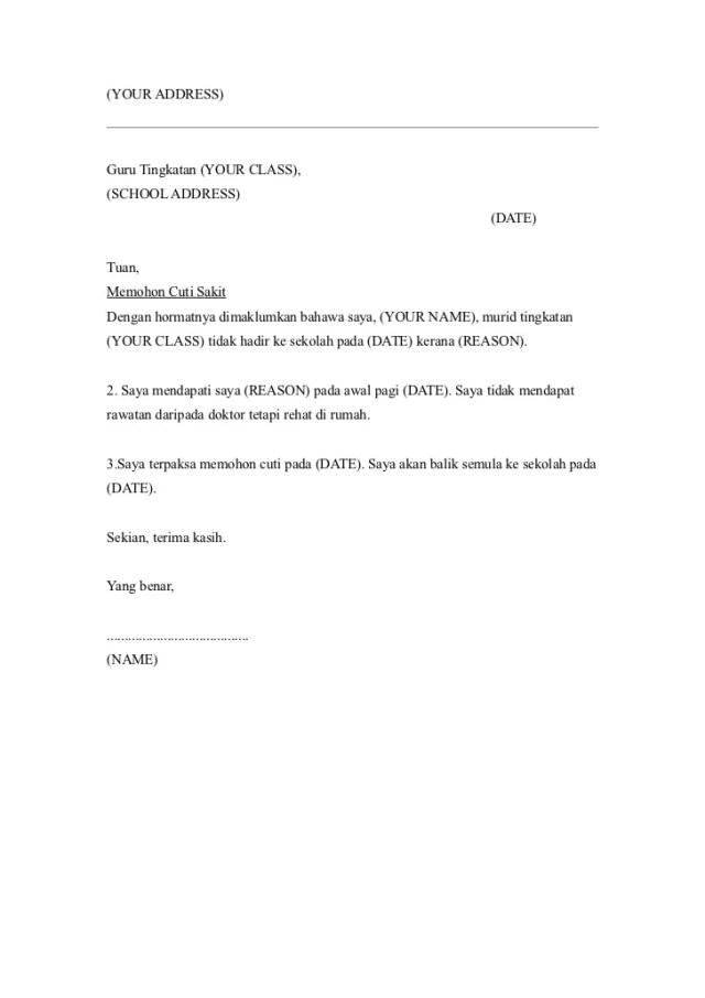 Contoh Surat Tidak Hadir Ke Sekolah Kerana Balik Kampung Bagi Contoh Surat