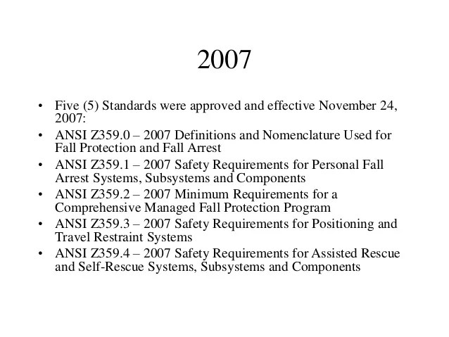 2007 Ansi 1 Z359 Com Personal And Systems Safety Requirements Arrest Fall Subsystems