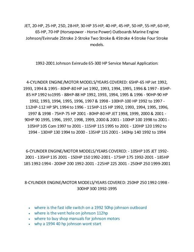 19902001 Johnson Evinrude Outboard Service Manual  1 HP
