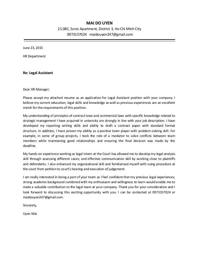 Uyen Mai Cover Letter Legal Assistant