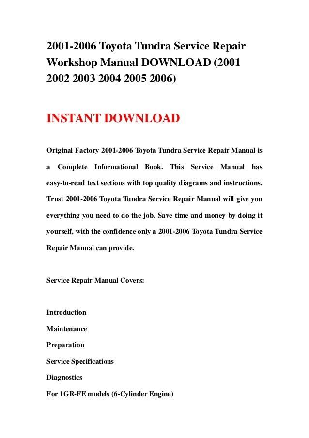 20012006 Toyota Tundra Service Repair Workshop Manual