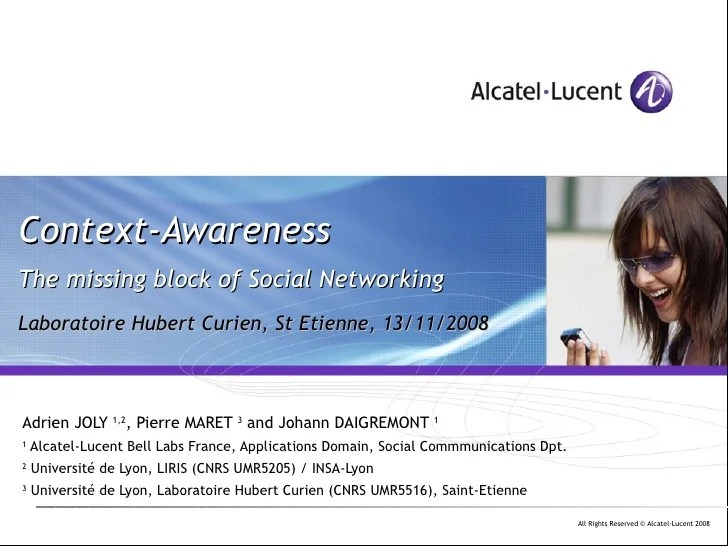 Context-Awareness, the missing block of Social Networking