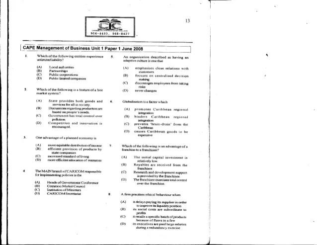 Unit 1 CAPE Management Of Business Paper 1 - 2008 Past ...