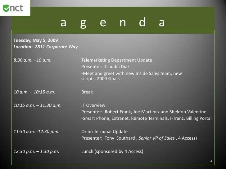 2009 Nct Sales Meeting Agenda