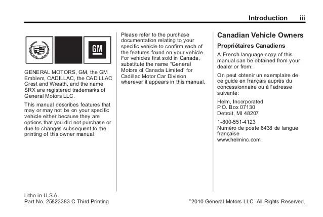 cadillac srx 2010 owners manual