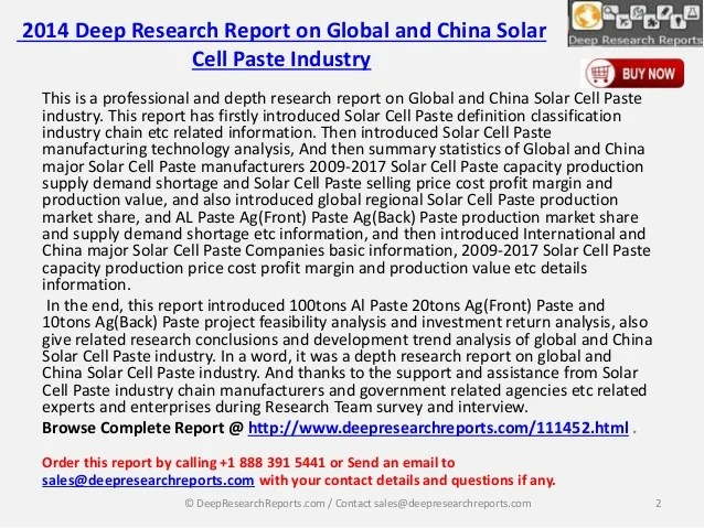 DRR: China and Global Solar Cell Paste Market 2014