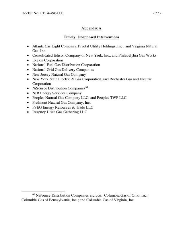 FERC Certificate Approving Dominion's Clarington Project ...