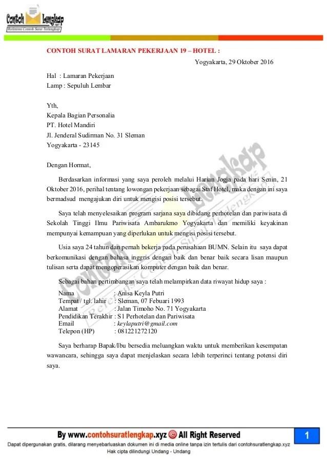Contoh Surat Lamaran Kerja Di Yogya Mall  Findimg