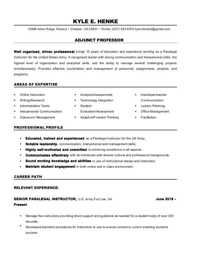 Professor Sample Resume Adjunct
