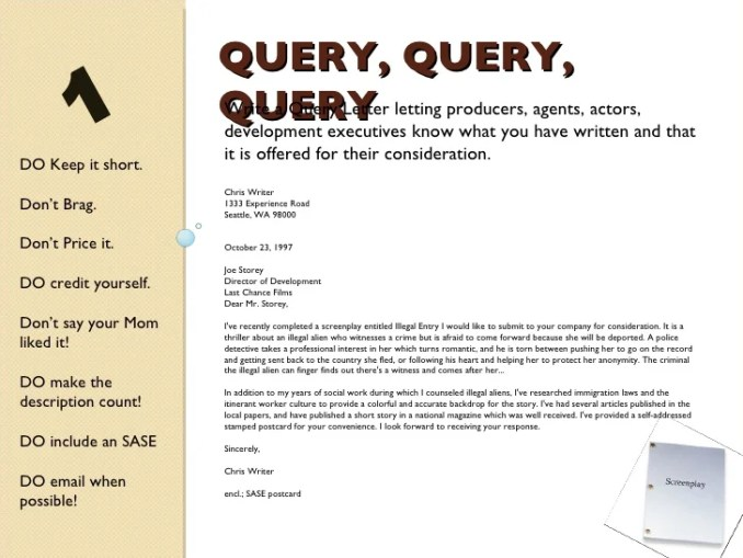 Query letter for screenplay invsite script query letter example newsinvitation co altavistaventures Image collections
