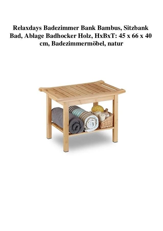 Relaxdays Badezimmer Bank Bambus, Sitzbank Bad, Ablage Badhocker Hol…