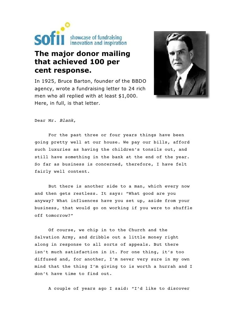 Major Donor Thank You Letter Sample